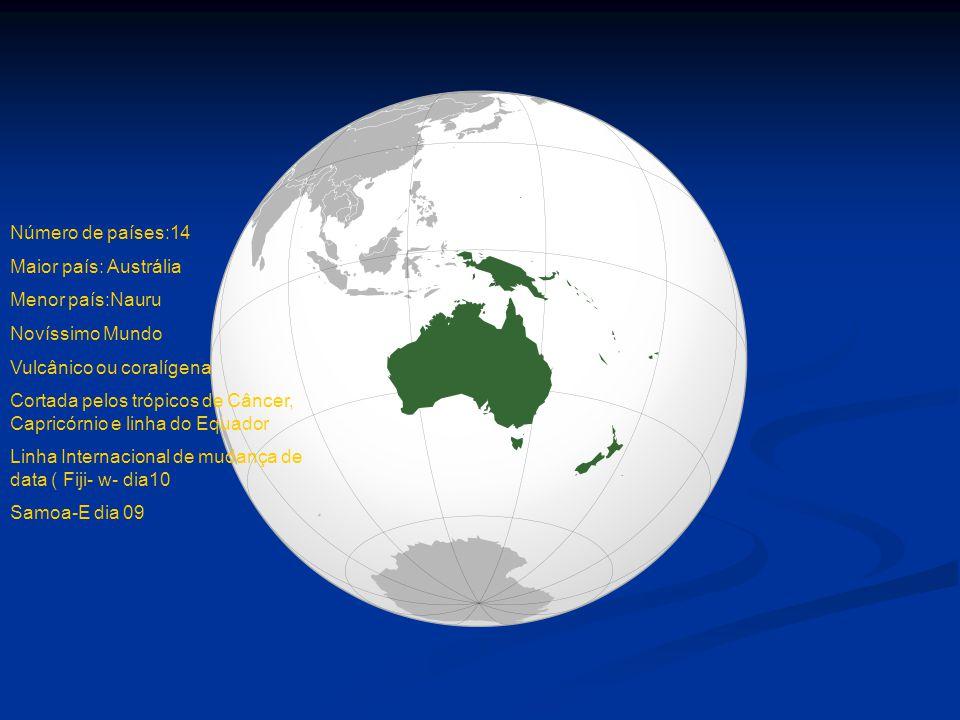 Número de países:14 Maior país: Austrália. Menor país:Nauru. Novíssimo Mundo. Vulcânico ou coralígena.