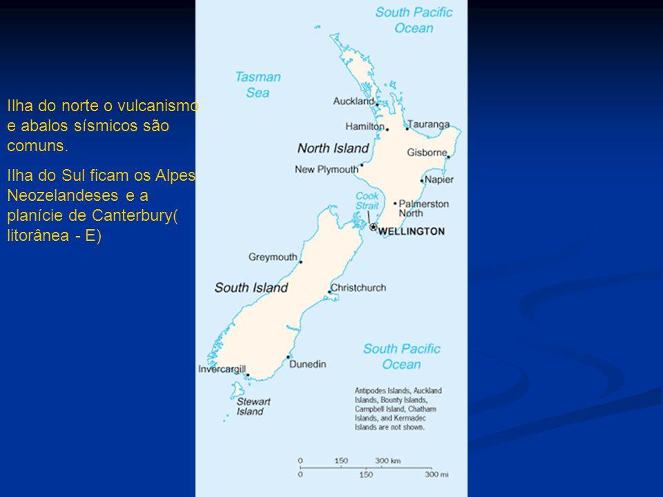 Ilha do norte o vulcanismo e abalos sísmicos são comuns.