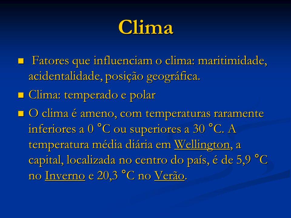 Clima Fatores que influenciam o clima: maritimidade, acidentalidade, posição geográfica. Clima: temperado e polar.