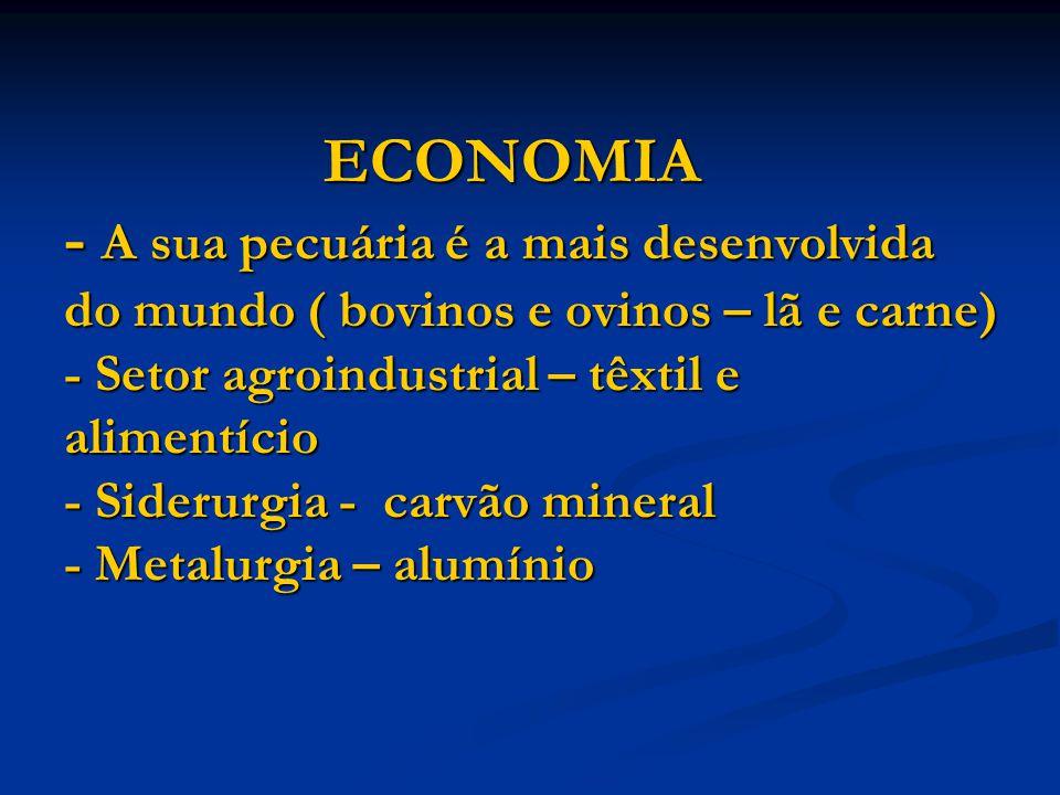 ECONOMIA - A sua pecuária é a mais desenvolvida do mundo ( bovinos e ovinos – lã e carne) - Setor agroindustrial – têxtil e alimentício - Siderurgia - carvão mineral - Metalurgia – alumínio