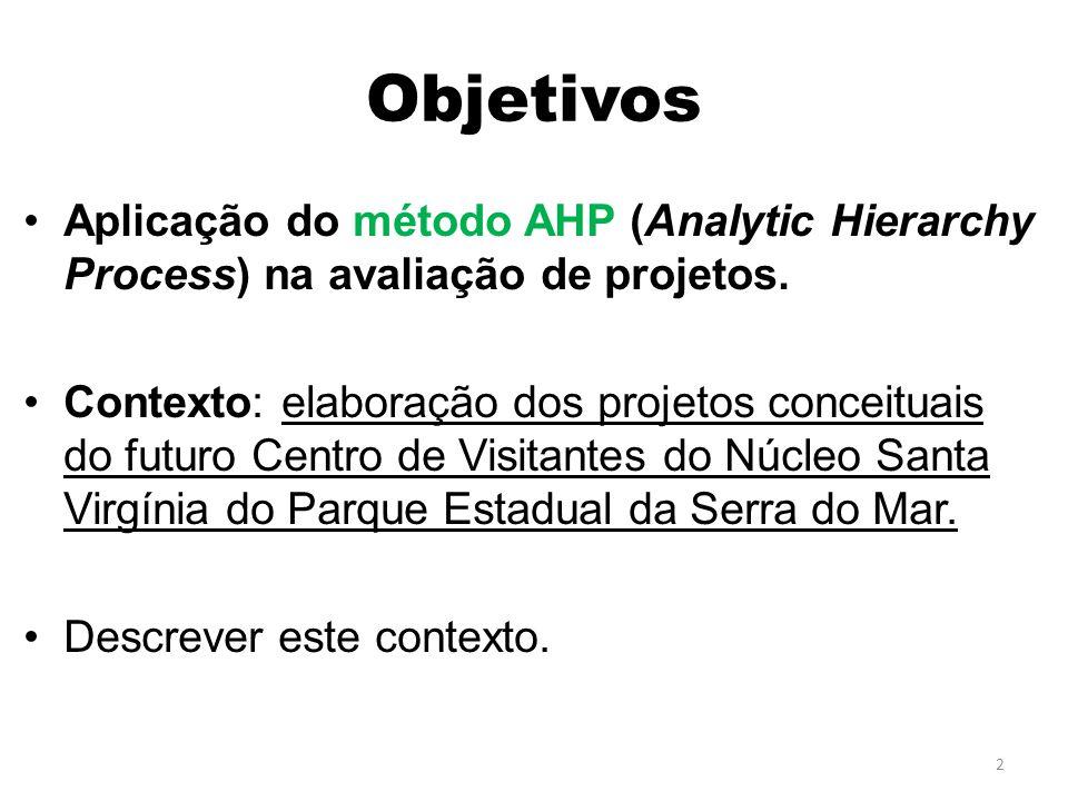 Objetivos Aplicação do método AHP (Analytic Hierarchy Process) na avaliação de projetos.