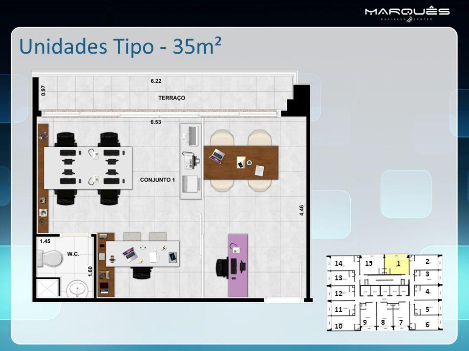 Unidades Tipo - 35m² 14 15 1 2 3 13 12 4 11 5 9 8 7 10 6