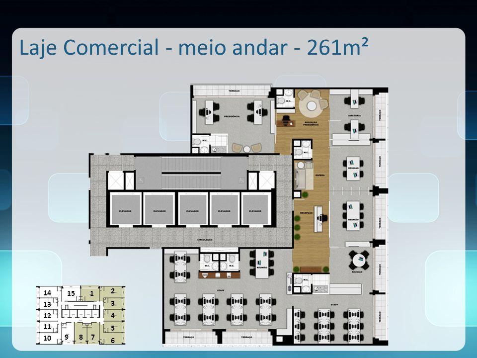 Laje Comercial - meio andar - 261m²