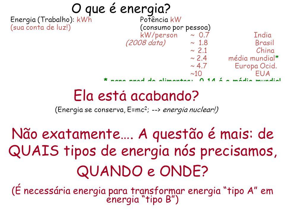 O que é energia Energia (Trabalho): kWh Potência kW (sua conta de luz!) (consumo por pessoa) kW/person ~ 0.7 India (2008 data) ~ 1.8 Brasil ~ 2.1 China ~ 2.4 média mundial* ~ 4.7 Europa Ocid. ~10 EUA * para prod.de alimentos: 0.14 é a média mundial