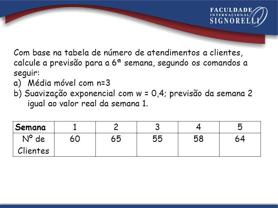Com base na tabela de número de atendimentos a clientes, calcule a previsão para a 6ª semana, segundo os comandos a seguir: