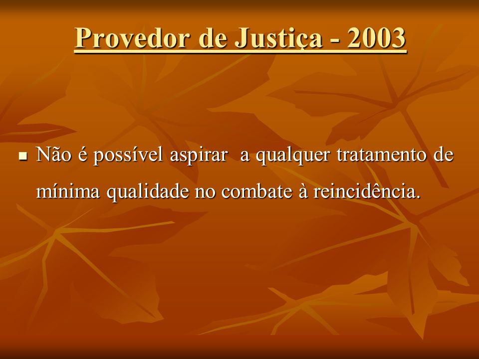 Provedor de Justiça - 2003 Não é possível aspirar a qualquer tratamento de mínima qualidade no combate à reincidência.