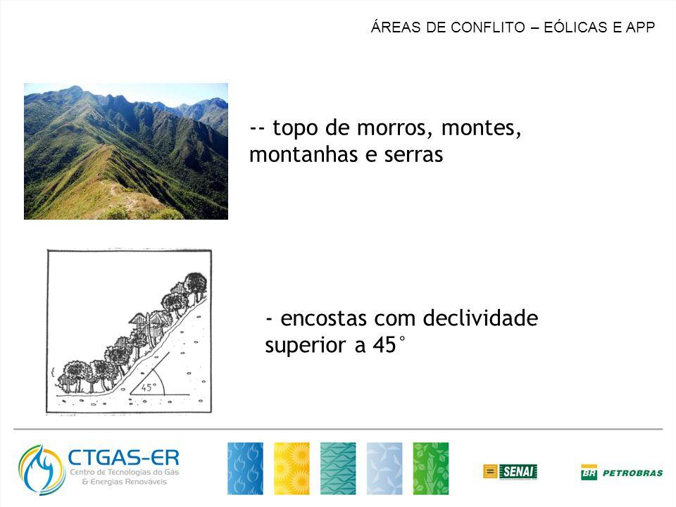 - topo de morros, montes, montanhas e serras