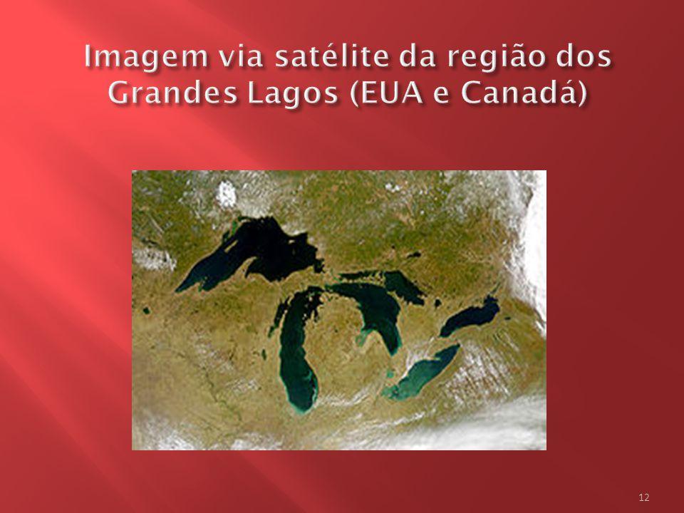 Imagem via satélite da região dos Grandes Lagos (EUA e Canadá)