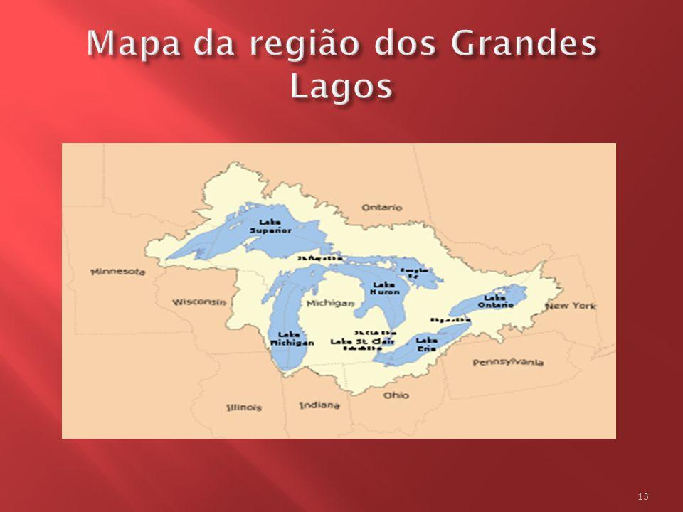 Mapa da região dos Grandes Lagos