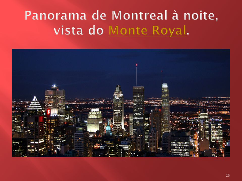 Panorama de Montreal à noite, vista do Monte Royal.