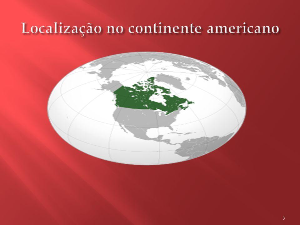 Localização no continente americano