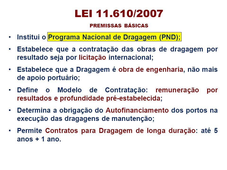 LEI 11.610/2007 Institui o Programa Nacional de Dragagem (PND);