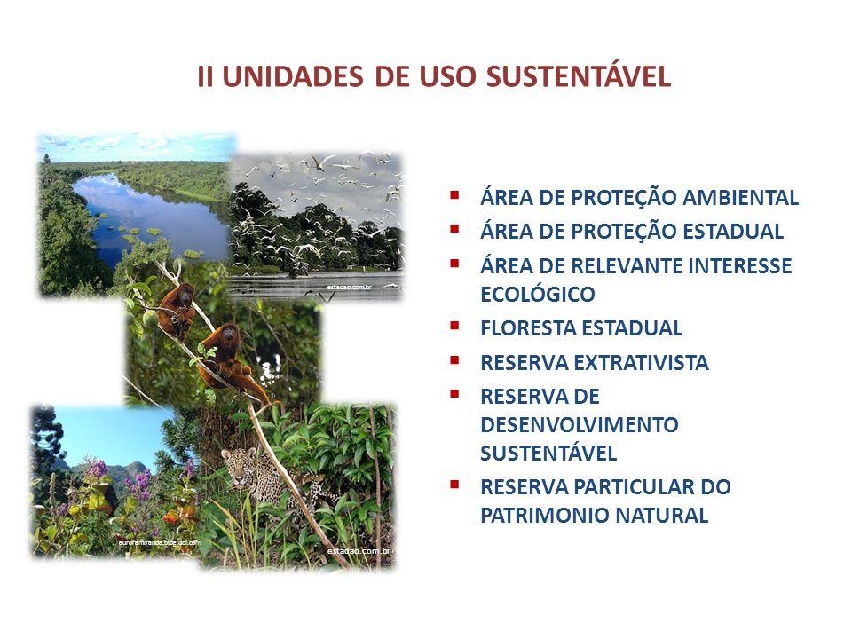 II UNIDADES DE USO SUSTENTÁVEL