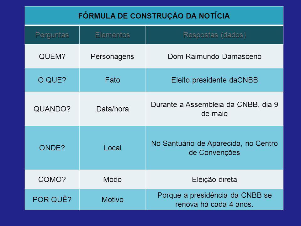 FÓRMULA DE CONSTRUÇÃO DA NOTÍCIA