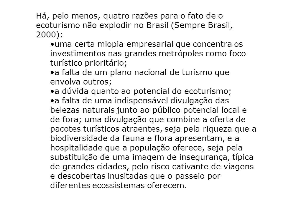 Há, pelo menos, quatro razões para o fato de o ecoturismo não explodir no Brasil (Sempre Brasil, 2000):