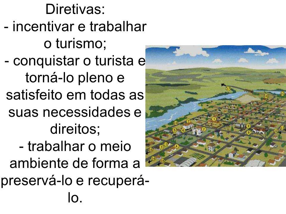 Diretivas: - incentivar e trabalhar o turismo; - conquistar o turista e torná-lo pleno e satisfeito em todas as suas necessidades e direitos; - trabalhar o meio ambiente de forma a preservá-lo e recuperá-lo.