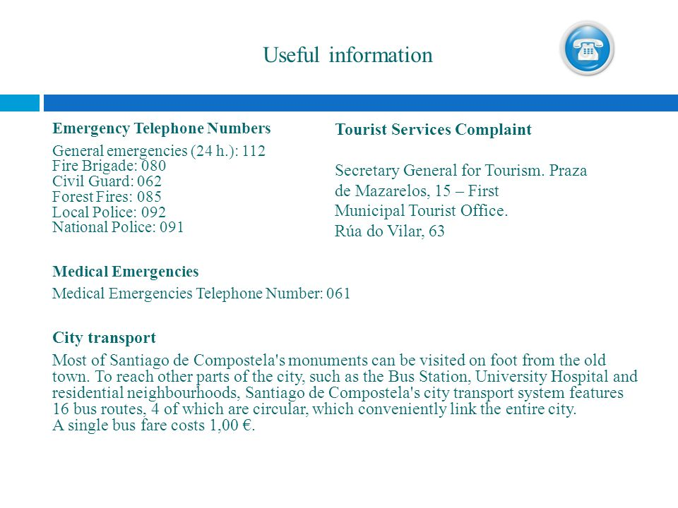 Useful information Tourist Services Complaint