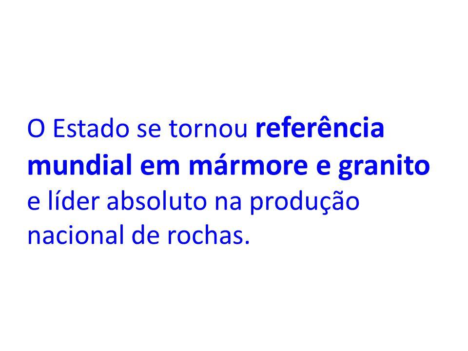 O Estado se tornou referência mundial em mármore e granito e líder absoluto na produção nacional de rochas.