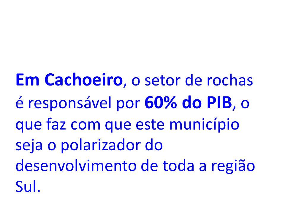 Em Cachoeiro, o setor de rochas é responsável por 60% do PIB, o que faz com que este município seja o polarizador do desenvolvimento de toda a região Sul.