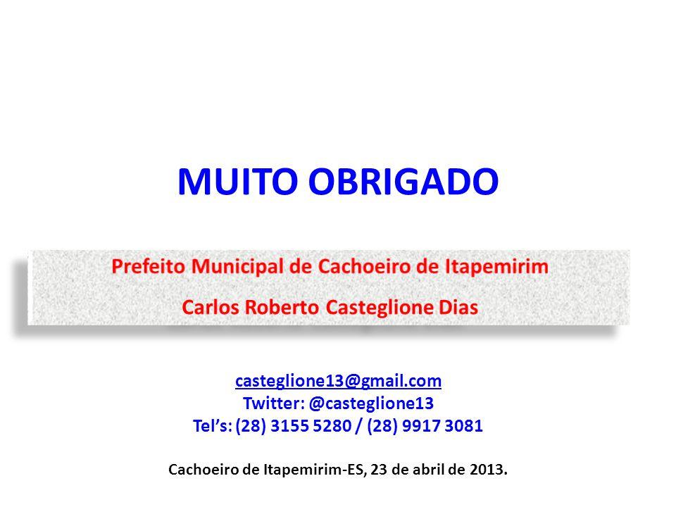 MUITO OBRIGADO Prefeito Municipal de Cachoeiro de Itapemirim
