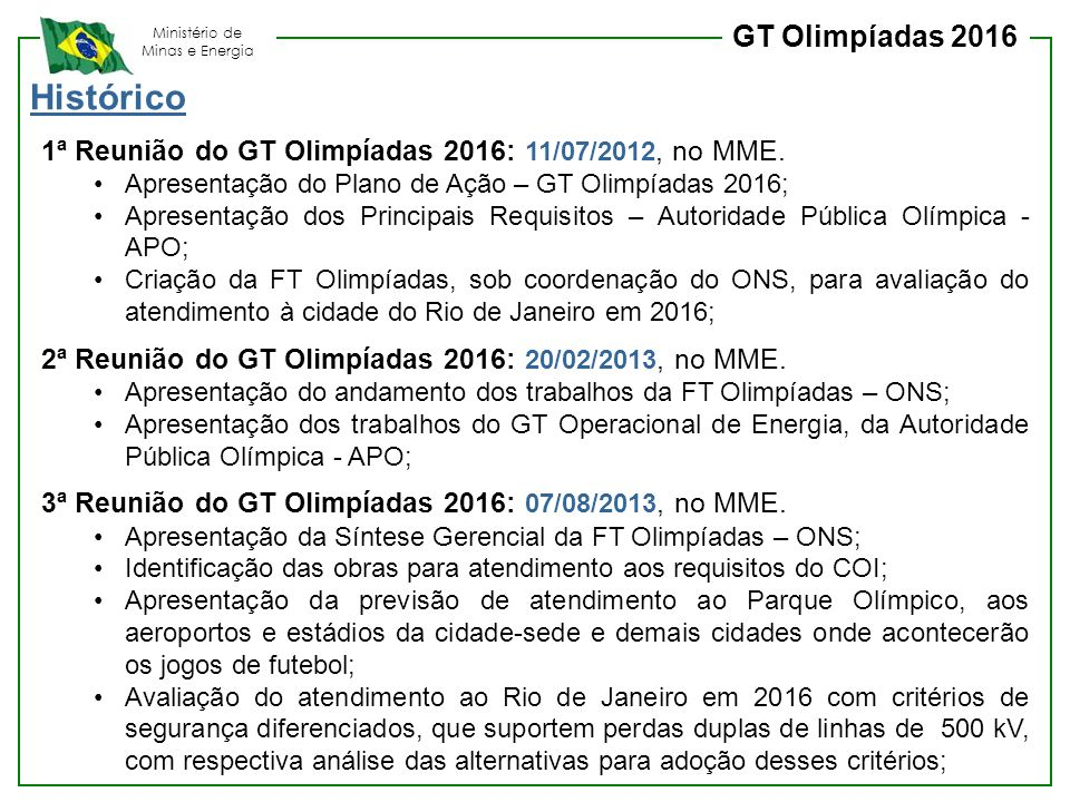 Histórico GT Olimpíadas 2016
