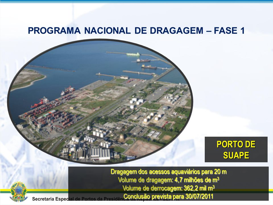 PROGRAMA NACIONAL DE DRAGAGEM – FASE 1