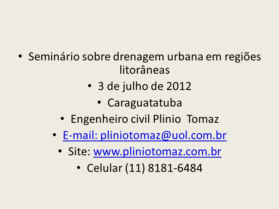 Seminário sobre drenagem urbana em regiões litorâneas