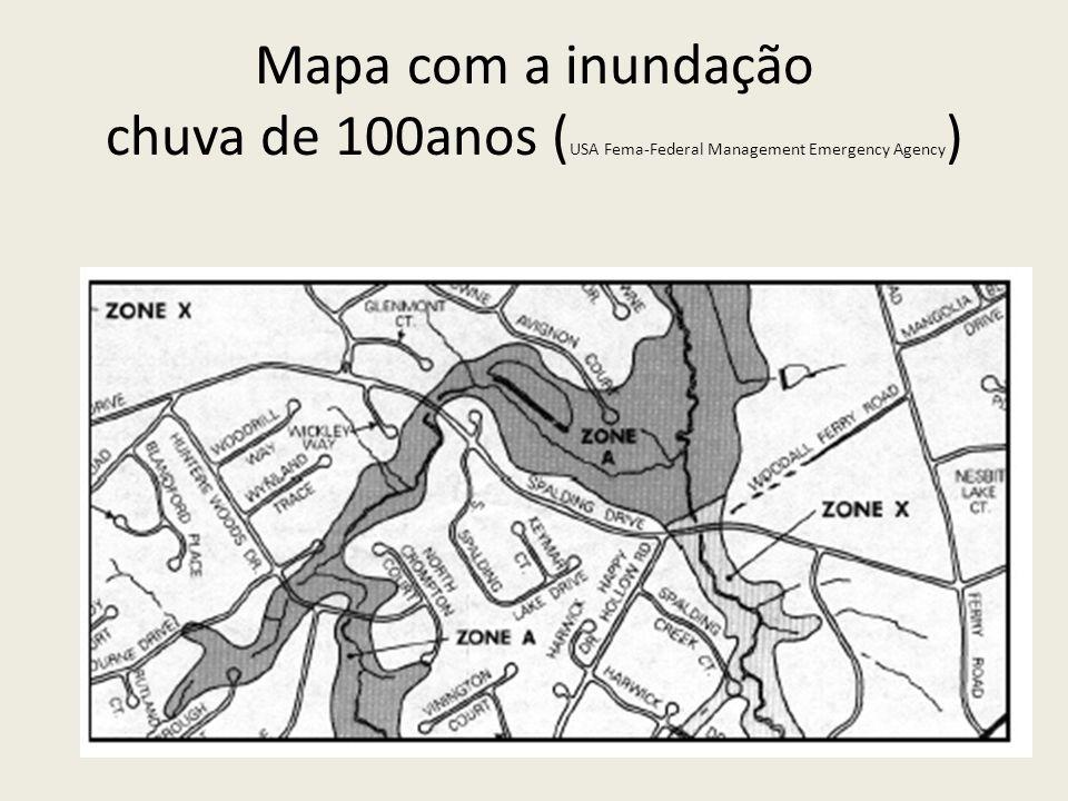 Mapa com a inundação chuva de 100anos (USA Fema-Federal Management Emergency Agency)