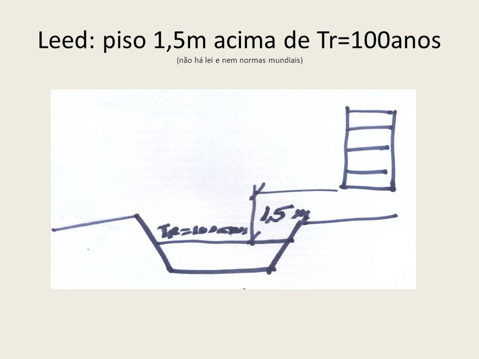Leed: piso 1,5m acima de Tr=100anos (não há lei e nem normas mundiais)