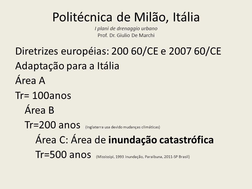Politécnica de Milão, Itália I plani de drenaggio urbano Prof. Dr