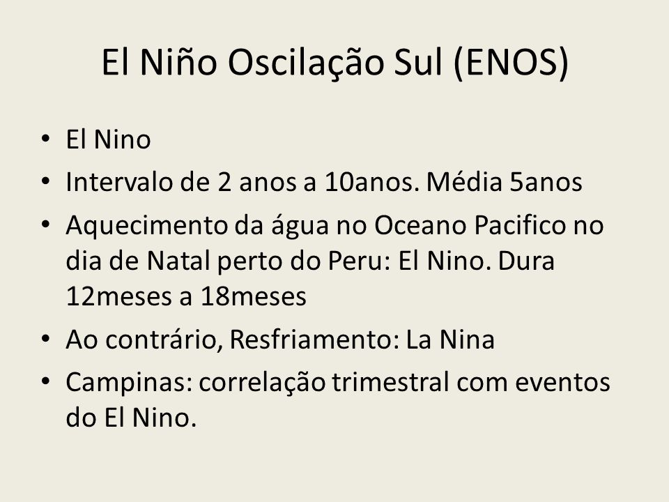 El Niño Oscilação Sul (ENOS)