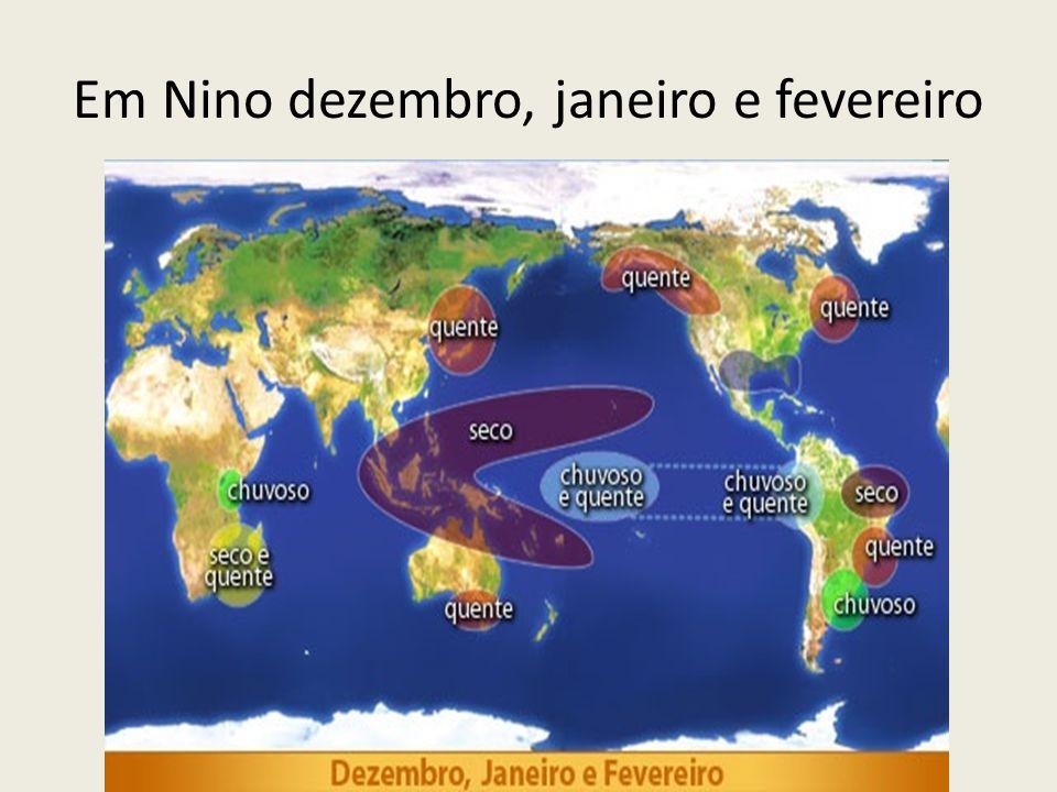 Em Nino dezembro, janeiro e fevereiro
