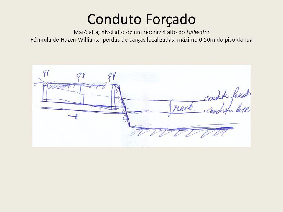 Conduto Forçado Maré alta; nível alto de um rio; nivel alto do tailwater Fórmula de Hazen-Willians, perdas de cargas localizadas, máximo 0,50m do piso da rua