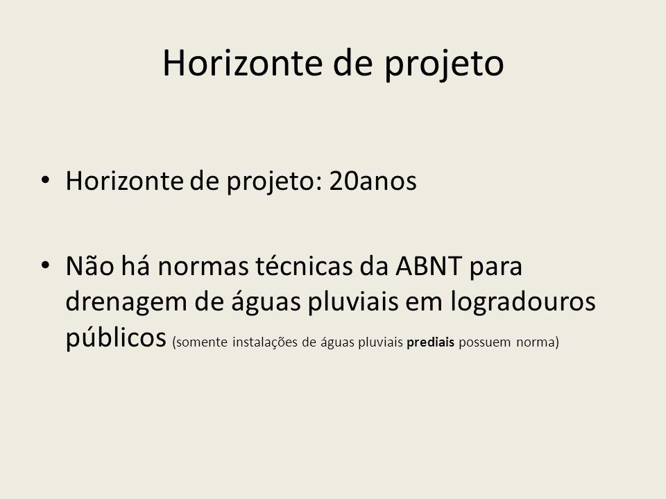 Horizonte de projeto Horizonte de projeto: 20anos