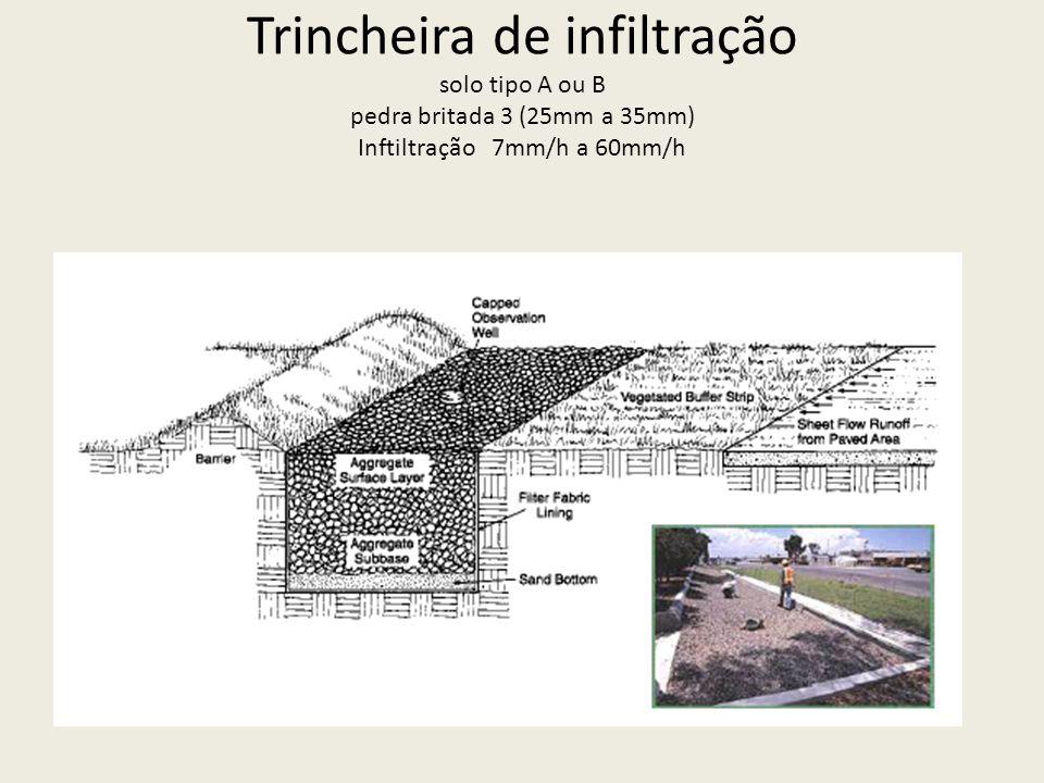 Trincheira de infiltração solo tipo A ou B pedra britada 3 (25mm a 35mm) Inftiltração 7mm/h a 60mm/h