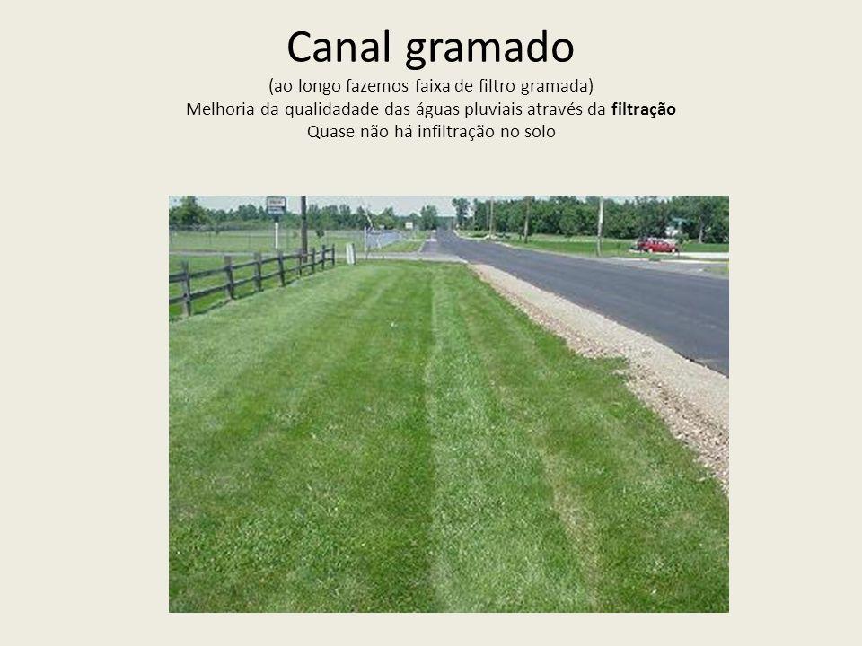 Canal gramado (ao longo fazemos faixa de filtro gramada) Melhoria da qualidadade das águas pluviais através da filtração Quase não há infiltração no solo