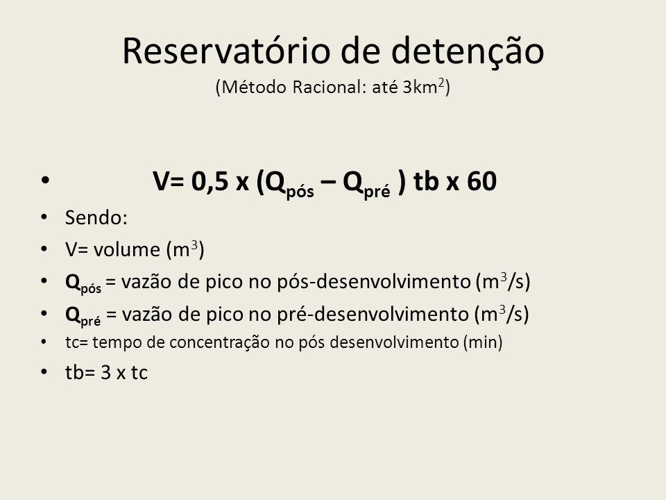 Reservatório de detenção (Método Racional: até 3km2)