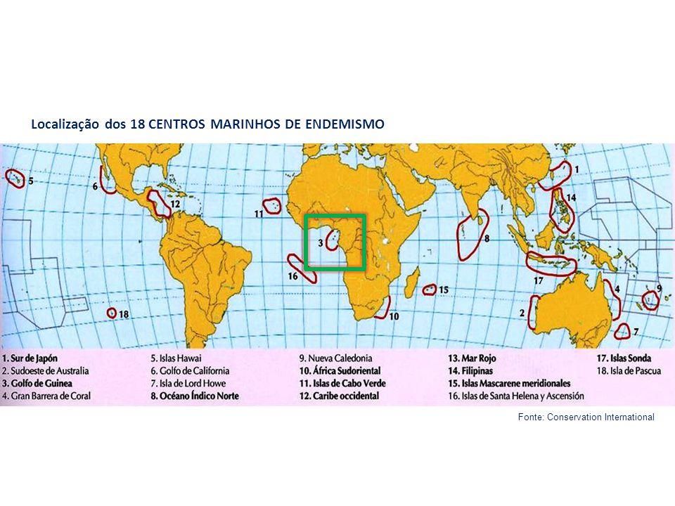 Localização dos 18 CENTROS MARINHOS DE ENDEMISMO