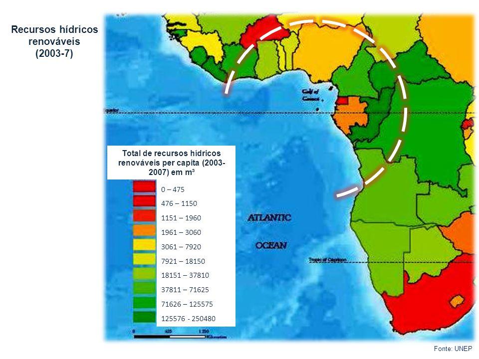 Total de recursos hídricos renováveis per capita (2003-2007) em m³