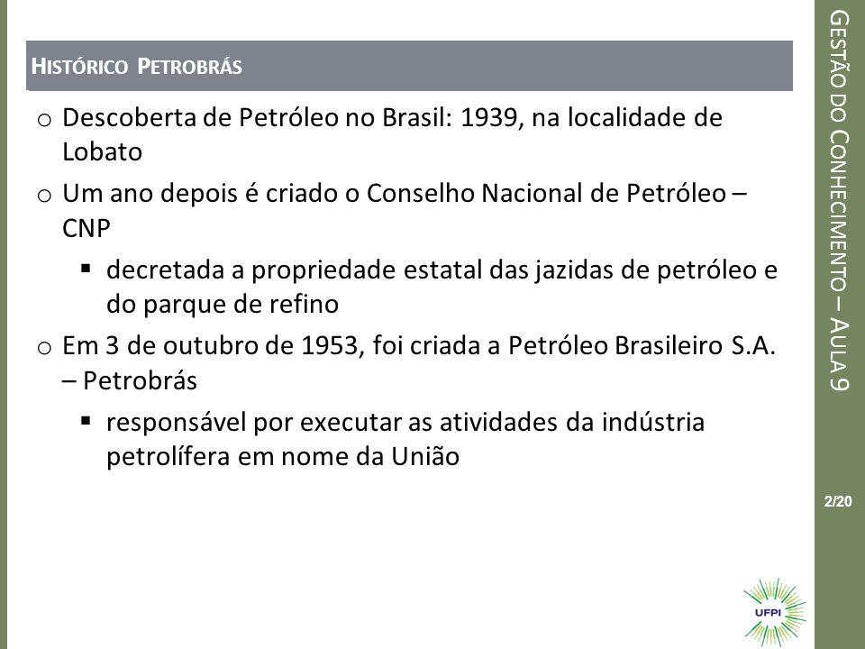Descoberta de Petróleo no Brasil: 1939, na localidade de Lobato