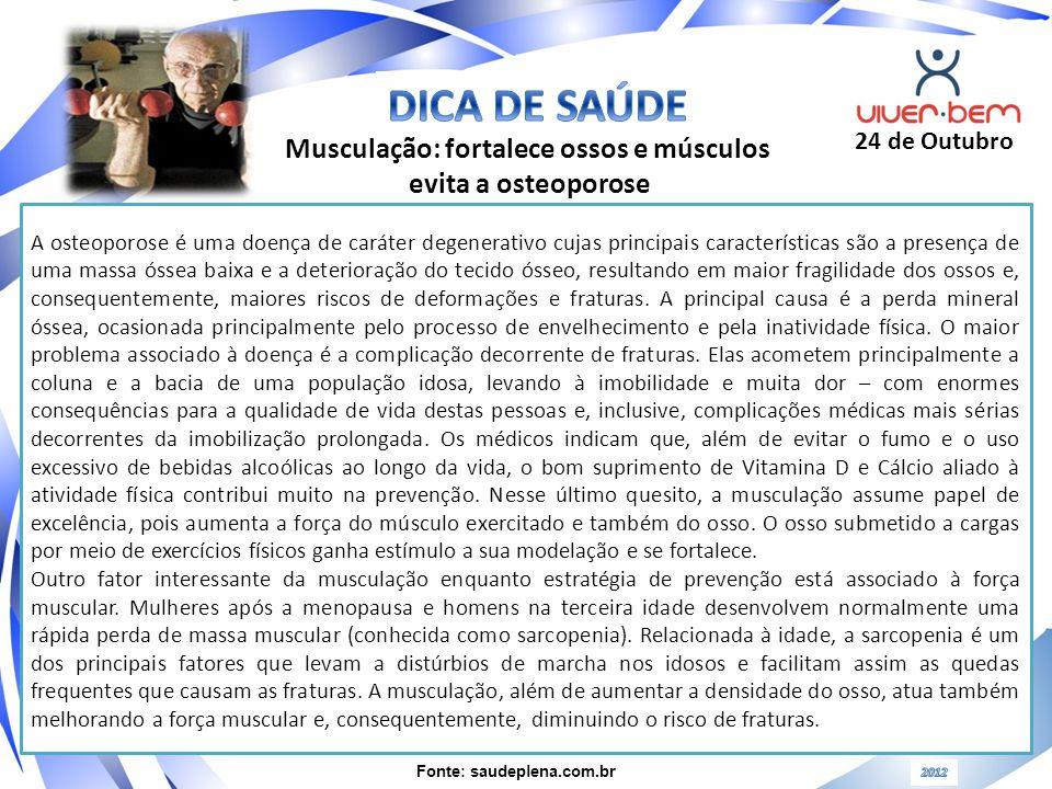 Musculação: fortalece ossos e músculos Fonte: saudeplena.com.br