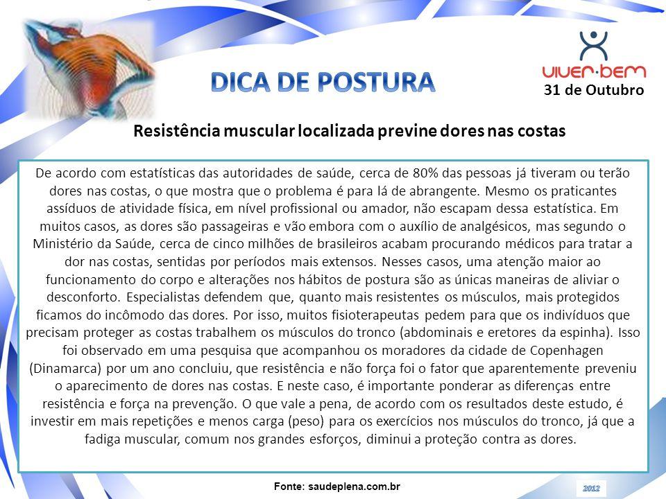 DICA DE POSTURA 31 de Outubro. Resistência muscular localizada previne dores nas costas.