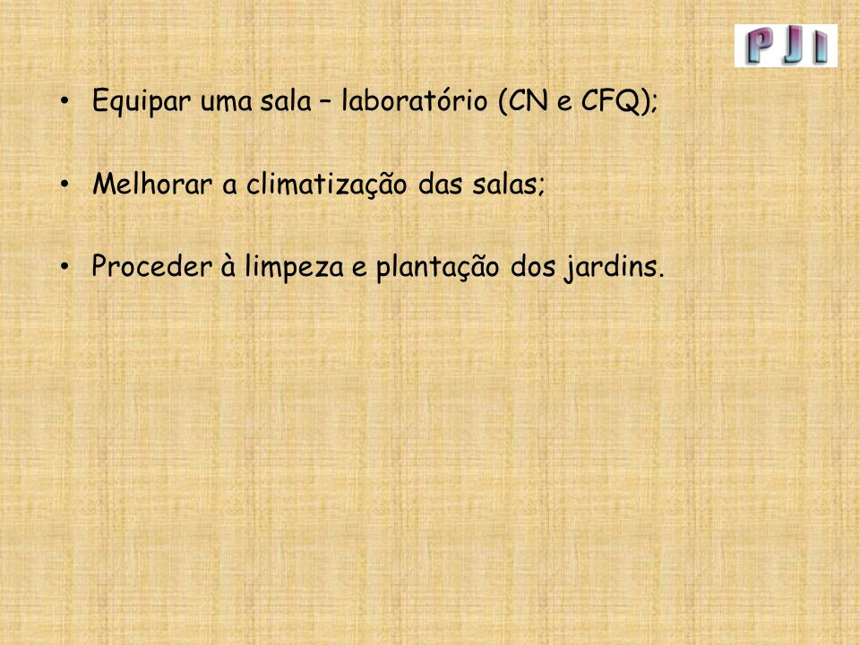 Equipar uma sala – laboratório (CN e CFQ);