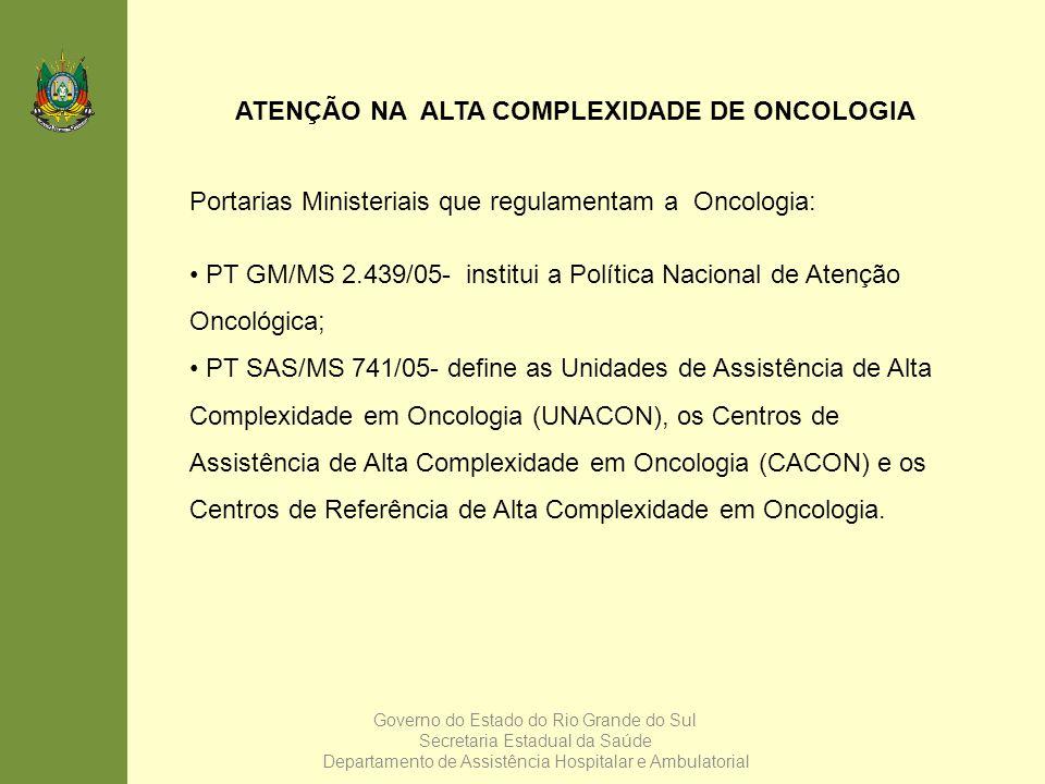 ATENÇÃO NA ALTA COMPLEXIDADE DE ONCOLOGIA
