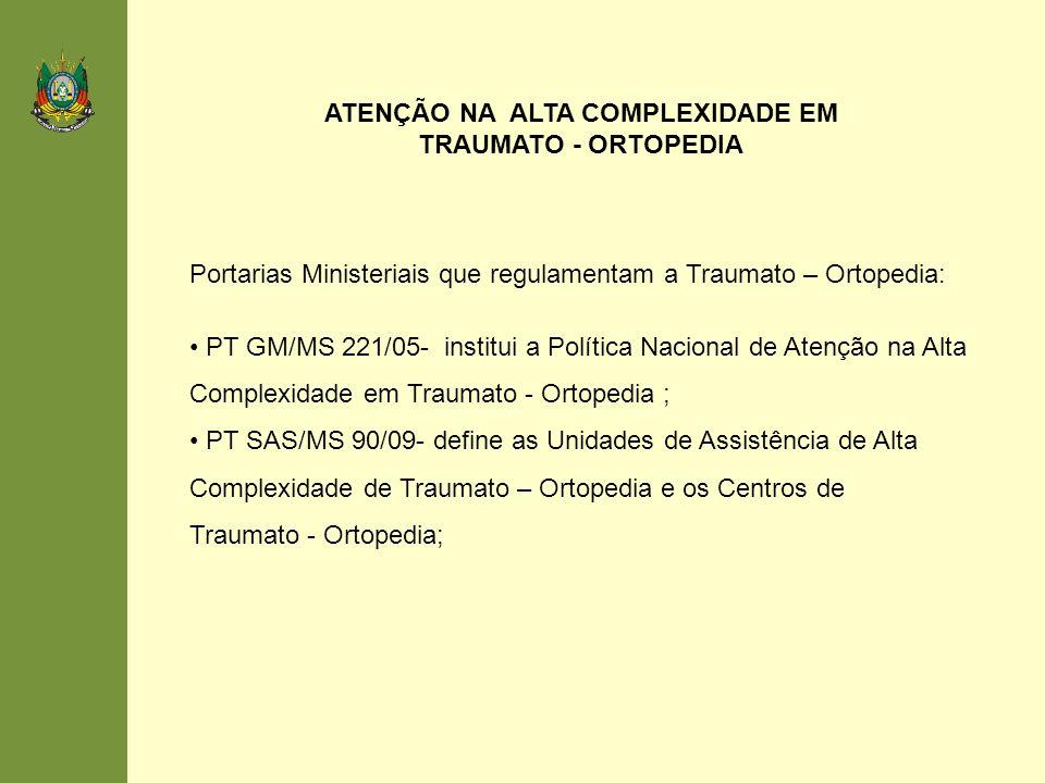 ATENÇÃO NA ALTA COMPLEXIDADE EM TRAUMATO - ORTOPEDIA
