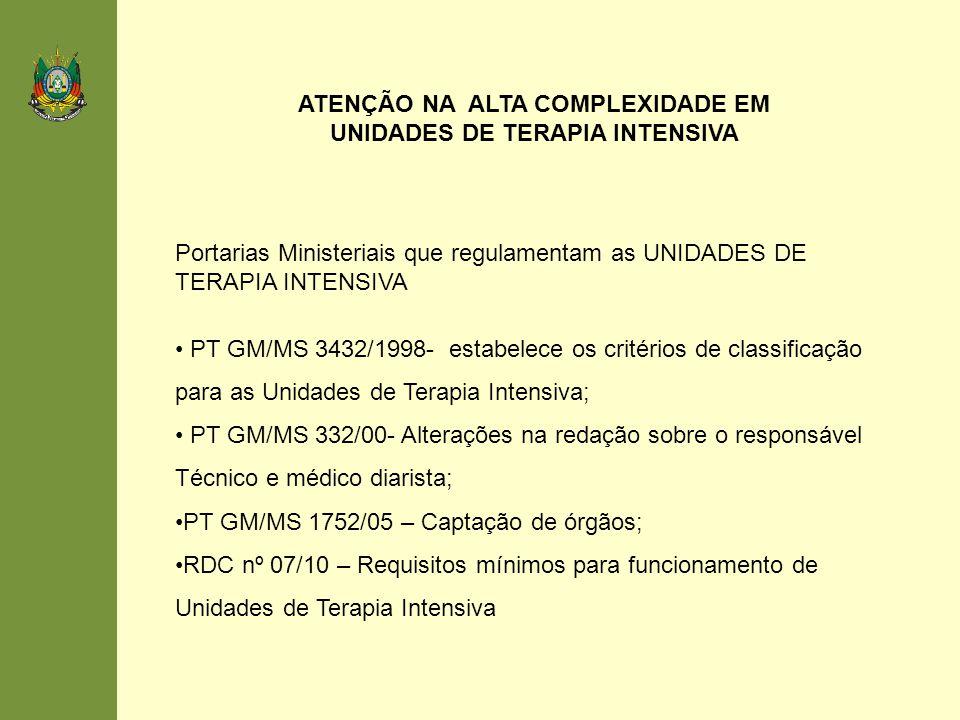 ATENÇÃO NA ALTA COMPLEXIDADE EM UNIDADES DE TERAPIA INTENSIVA
