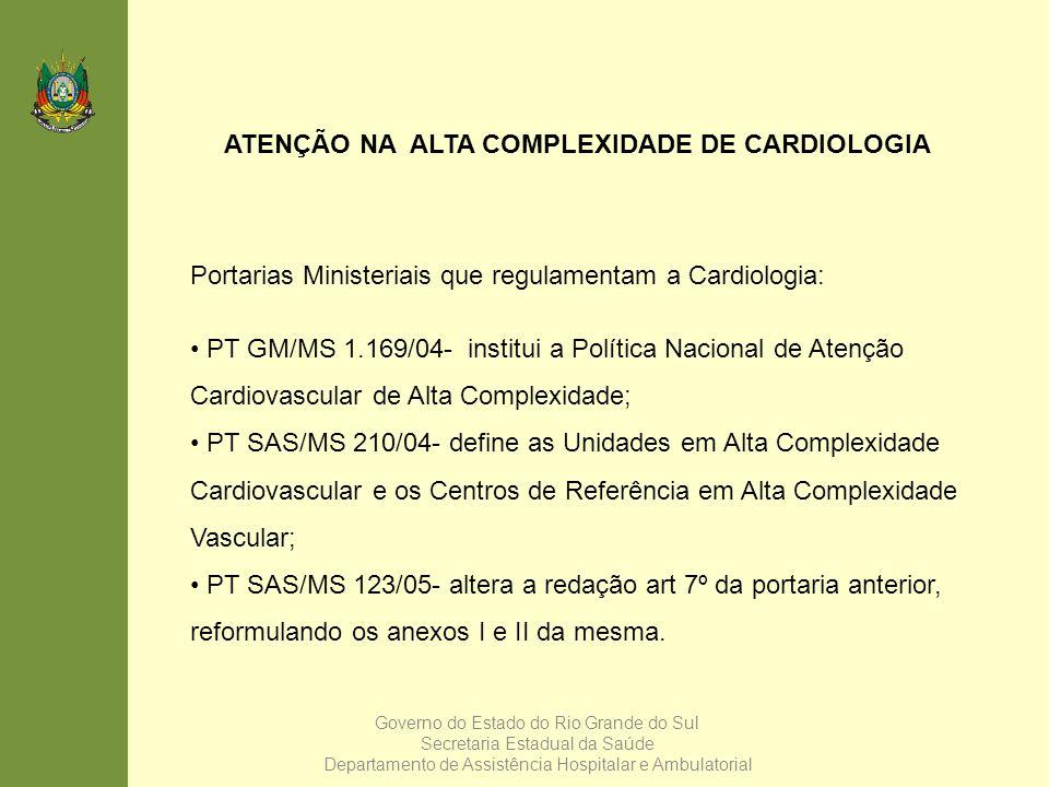 ATENÇÃO NA ALTA COMPLEXIDADE DE CARDIOLOGIA