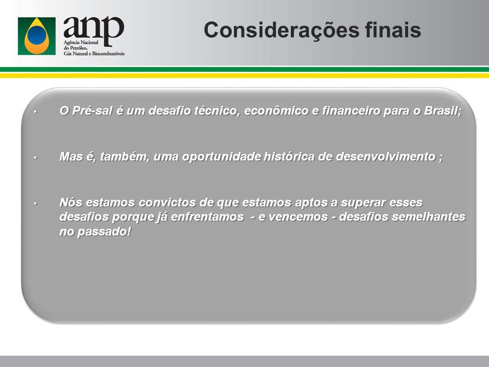 Considerações finais O Pré-sal é um desafio técnico, econômico e financeiro para o Brasil;