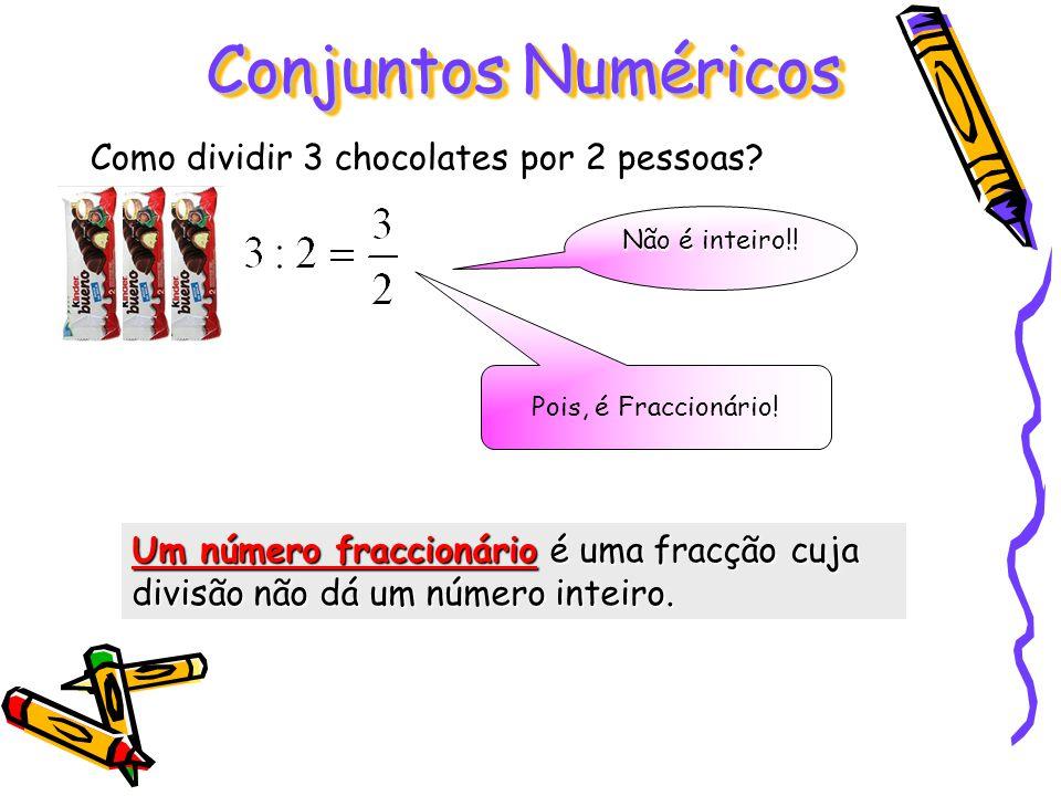 Conjuntos Numéricos Como dividir 3 chocolates por 2 pessoas