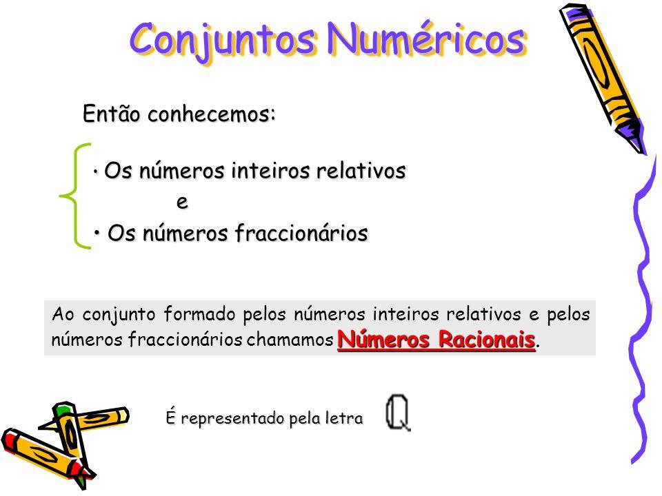 Conjuntos Numéricos Então conhecemos: e Os números fraccionários
